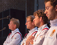 13-09-12, Netherlands, Amsterdam, Tennis, Daviscup Netherlands-Swiss, Draw   Dutch team press-conference, l.t.r.: captain Jan Siemerink,Thiemo de Bakker, Robin Haase and Jean-julian Rojer.