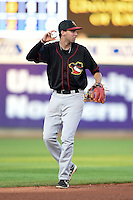 Quad Cities River Bandits shortstop Thomas Lindauer (23) during a game against the Cedar Rapids Kernels on August 18, 2014 at Perfect Game Field at Veterans Memorial Stadium in Cedar Rapids, Iowa.  Cedar Rapids defeated Quad Cities 5-3.  (Mike Janes/Four Seam Images)