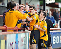 Alloa's Martin Grehan celebrates with the fans after he scores Alloa's third goal ...
