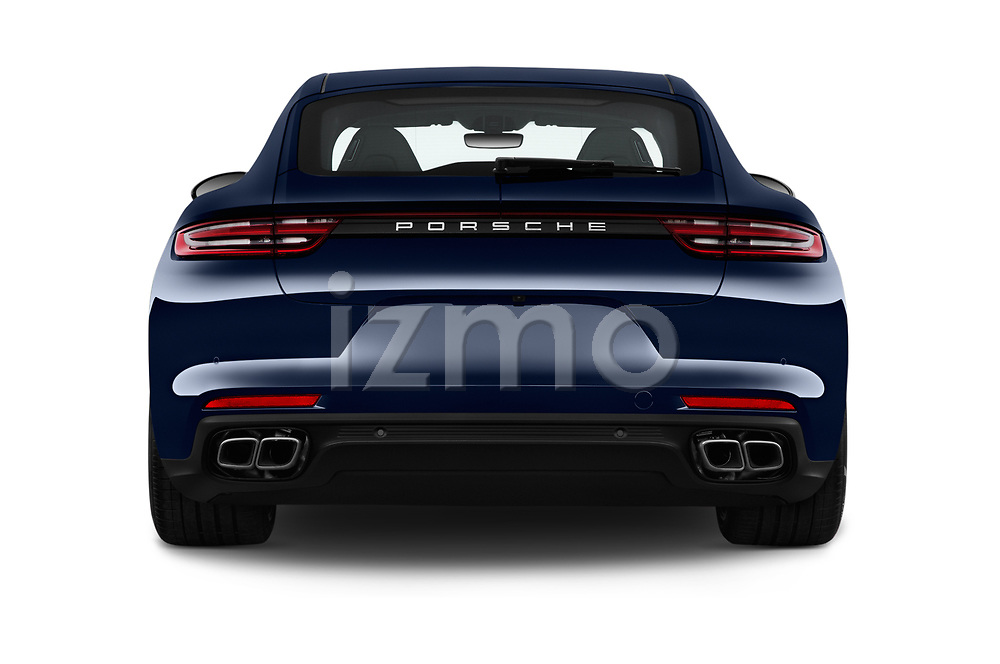 Straight rear view of 2017 Porsche Panamera Turbo 5 Door Hatchback Rear View  stock images