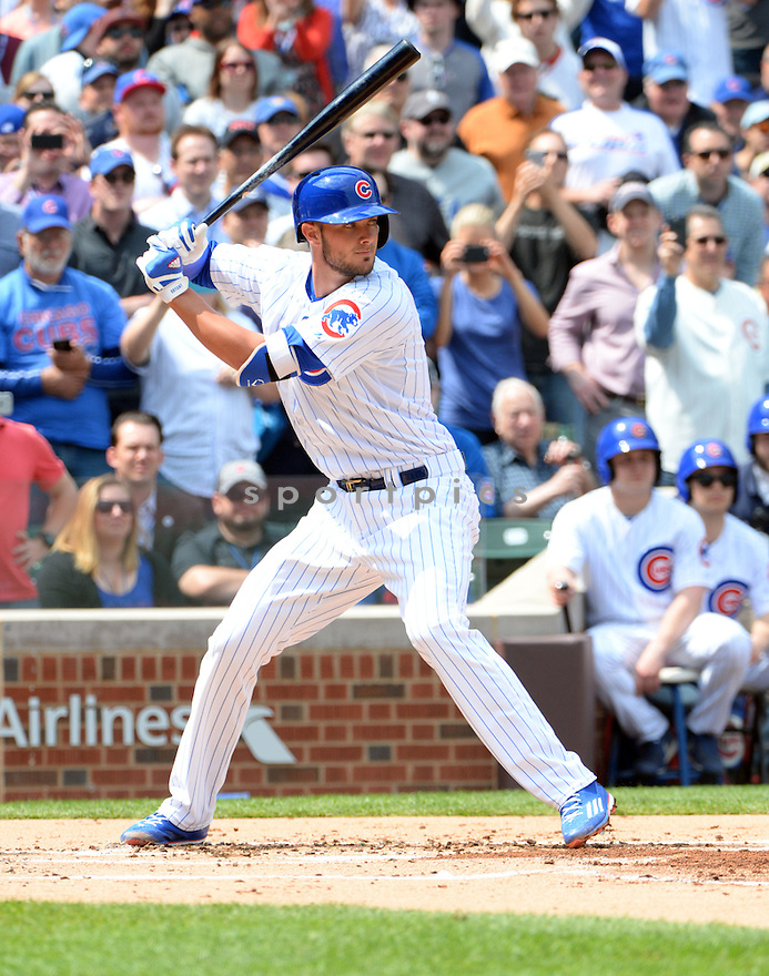 Chicago Cubs Kris Bryant (17) during a game against the San Diego Padres on April 17, 2015 at Wrigley Field in Chicago, IL. The Padres beat the Cubs 5-4.