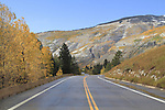 Paved road in the White River National Forest, after an autumn snowstorm, Vail Valley, Colorado.