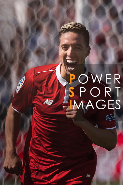 Samir Nasri of Sevilla FC celebrates during their La Liga match between Deportivo Leganes and Sevilla FC at the Butarque Municipal Stadium on 15 October 2016 in Madrid, Spain. Photo by Diego Gonzalez Souto / Power Sport Images