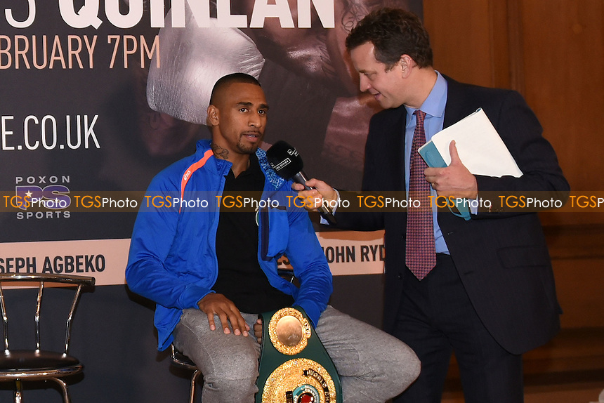 Boxer Renold Quinlan is interviewed during a Poxon Sports Press Conference at the Apex Room on 2nd February 2017