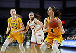 SIOUX FALLS, SD - MARCH 8: Sofija Zivaljevic #4 of the North Dakota State Bison drives to the basket agains Denver Pioneers at the 2020 Summit League Basketball Championship in Sioux Falls, SD. (Photo by Richard Carlson/Inertia)