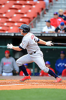 Lehigh Valley IronPigs third baseman Cody Asche #5 during the first game of a double header against the Buffalo Bisons on June 7, 2013 at Coca-Cola Field in Buffalo, New York.  Buffalo defeated Lehigh Valley 4-3.  (Mike Janes/Four Seam Images)