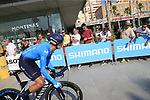 Winner Anacona (COL) Movistar Team during Stage 1 of the La Vuelta 2018, an individual time trial of 8km running around Malaga city centre, Spain. 25th August 2018.<br /> Picture: Ann Clarke | Cyclefile<br /> <br /> <br /> All photos usage must carry mandatory copyright credit (© Cyclefile | Ann Clarke)