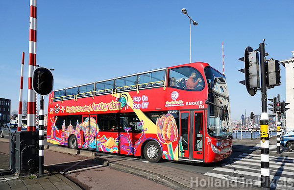Nederland Amsterdam 2016 02 27.  City sightseeing Amsterdam. Hop on, hop off bus.  Foto Berlinda van Dam / Hollandse Hoogte