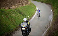 Jelle Wallays (BEL/Topsport Vlaanderen-Baloise) just made a decisive move on the Taaienberg and now leads the race solo down the descent <br /> <br /> 70th Dwars Door Vlaanderen 2015