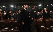 Chief Justice John Roberts arrives for US President Donald J. Trump's first address to a joint session of Congress from the floor of the House of Representatives in Washington, DC, USA, 28 February 2017.  Traditionally the first address to a joint session of Congress by a newly-elected president is not referred to as a State of the Union.<br /> Credit: Jim LoScalzo / Pool via CNP