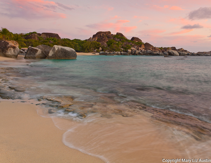Virgin Gorda, British Virgin Islands, Caribbean <br /> Sunset light on the beach at Spring Bay, Spring Bay National Park