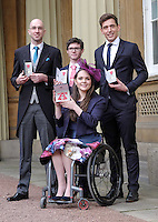 23 February 2017 - Daniel Brown, Oliver James, James Fox and Lauren Rowles during an Investiture Ceremony at Buckingham Palace in London. Photo Credit: ALPR/AdMedia