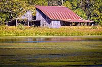 Old barn on Mill Creek Pond in Boxley Valley, near Jasper Arkansas.
