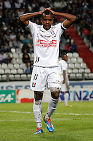 MANIZALES - COLOMBIA -12-03-2014: Jose Izquierdo, jugador de Once Caldas durante partido de la decima fecha de la Liga Postobon I 2014, jugado en el estadio Palogrande de la ciudad de Manizales. / Jose Izquierdo player of de Once Caldas during a match for tenth date of the Liga Postobon I 2014 at the Palogrande stadium in Manizales city. Photo: VizzorImage / Santiago Osorio / Str.