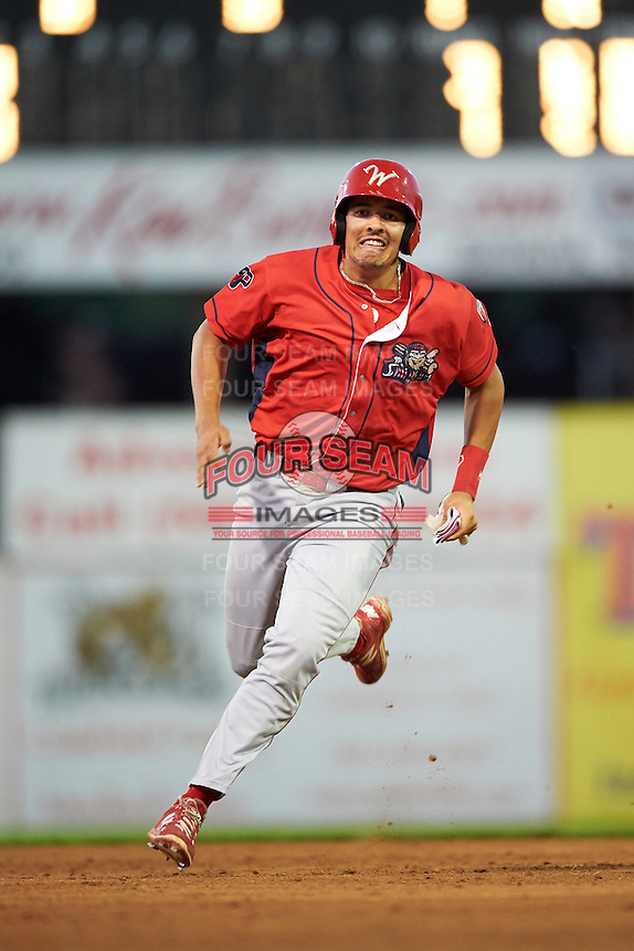 Williamsport Crosscutters first baseman Darick Hall (46) running the bases during a game against the Batavia Muckdogs on September 2, 2016 at Dwyer Stadium in Batavia, New York.  Williamsport defeated Batavia 9-1. (Mike Janes/Four Seam Images)