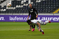 Eray Cömert (FC Basel) klärt gegen Goncalo Paciencia (Eintracht Frankfurt) - 12.03.2020: Eintracht Frankfurt vs. FC Basel, UEFA Europa League, Achtelfinale, Commerzbank Arena<br /> DISCLAIMER: DFL regulations prohibit any use of photographs as image sequences and/or quasi-video.