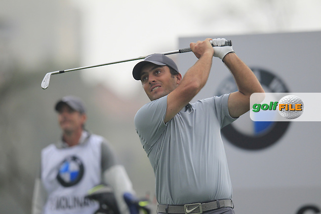 Francesco Molinari (ITA) tees off the 6th tee during Saturay's Round 3 of the 2014 BMW Masters held at Lake Malaren, Shanghai, China. 1st November 2014.<br /> Picture: Eoin Clarke www.golffile.ie