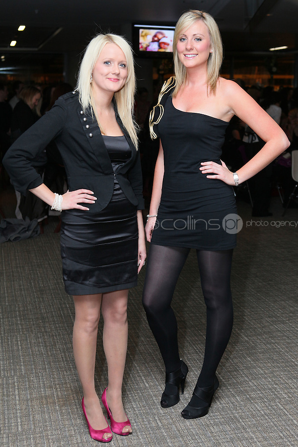 NO FEE 14/10/2010.  Bóthar's Rugby Rocks Fashion.  Linsey Price and Aoife Power are pictured at Bóthar's Rugby Rocks Fashion fundraising event at the Aviva Stadium in Dublin on Thursday night were {insert names here}. All proceeds from the event go towards Bóthar's projects in Pakistan. To find out more about Bóthar's work in Pakistan or in any of the 35 project countries Bóthar works in, lo-call 1850 82 99 99 or visit www.bothar.org. Picture James Horan/Colllins Photos