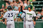 29 July 2018: Vermont Lake Monsters infielder Aaron Arruda (27) greets Robert Mullen (23) at home after Mullen hit a 3-run homer in the 4th inning against the Batavia Muckdogs at Centennial Field in Burlington, Vermont. The Lake Monsters defeated the Muckdogs 4-1 in NY Penn League action. Mandatory Credit: Ed Wolfstein Photo *** RAW (NEF) Image File Available ***