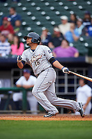 San Antonio Missions second baseman Diego Goris (15) at bat during a game against the NW Arkansas Naturals on May 30, 2015 at Arvest Ballpark in Springdale, Arkansas.  San Antonio defeated NW Arkansas 5-1.  (Mike Janes/Four Seam Images)