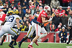 Wisconsin Badgers tight end Troy Fumagalli (81) makes a reception during an NCAA College Big Ten Conference football game against the Michigan Wolverines Saturday, November 18, 2017, in Madison, Wis. The Badgers won 24-10. (Photo by David Stluka)