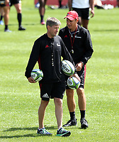 Brad Mooar and Ronan O'Gara during the Crusaders Super Rugby training session at Rugby Park in Christchurch, New Zealand on Thursday 22 February 2018. Photo: Martin Hunter / lintottphoto.co.nz