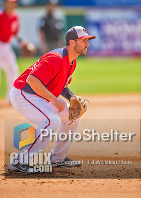 11 March 2013: Washington Nationals infielder Stephen Lombardozzi in action during a Spring Training game against the Atlanta Braves at Space Coast Stadium in Viera, Florida. The Braves defeated the Nationals 7-2 in Grapefruit League play. Mandatory Credit: Ed Wolfstein Photo *** RAW (NEF) Image File Available ***