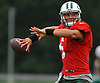 Christian Hackenberg #5, quarterback, throws a pass during New York Jets Training Camp at the Atlantic Health Jets Training Center in Florham Park, NJ on Monday, Aug. 14, 2017.