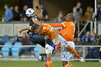 San Jose, CA - Saturday April 14, 2018: Quincy Amarikwa, Alejandro Fuenmayor, Adolfo Machado during a Major League Soccer (MLS) match between the San Jose Earthquakes and the Houston Dynamo at Avaya Stadium.