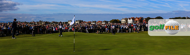 Sandy Scott (GB&I) on the 18th green during Day 2 Foursomes of the Walker Cup, Royal Liverpool Golf CLub, Hoylake, Cheshire, England. 08/09/2019.<br /> Picture Thos Caffrey / Golffile.ie<br /> <br /> All photo usage must carry mandatory copyright credit (© Golffile | Thos Caffrey)