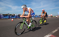 25 MAR 2012 - LOUGHBOROUGH, GBR - Matthew Gunby (PACTRAC) (left) leads Mark Buckingham (Holmfirth Harriers) during the 2012 British Elite Men's Duathlon Championship race at Prestwold Hall Airfield in Prestwold near Loughborough, Great Britain .(PHOTO (C) 2012 NIGEL FARROW)