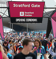 27.07.2012. London England.  Spectators arrive at Stratford station to reach the Olympic Park prior the opening ceremony of the London 2012 Olympic Games, London, Britain, 27. July 2012.
