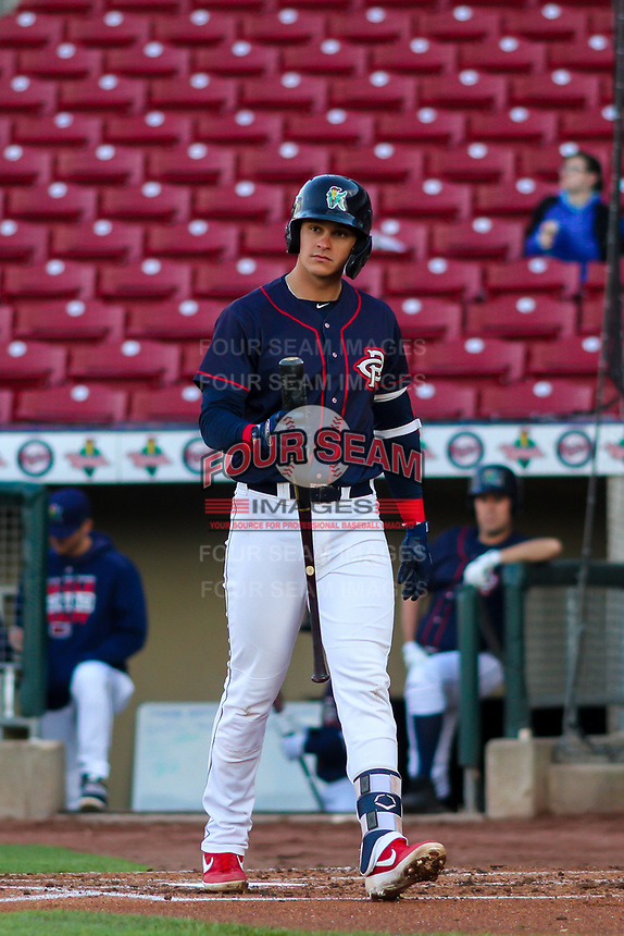 Cedar Rapids Kernels first baseman Ben Rodriguez (23) steps to the plate during a Midwest League game against the Bowling Green Hot Rods on May 2, 2019 at Perfect Game Field in Cedar Rapids, Iowa. Bowling Green defeated Cedar Rapids 2-0. (Brad Krause/Four Seam Images)