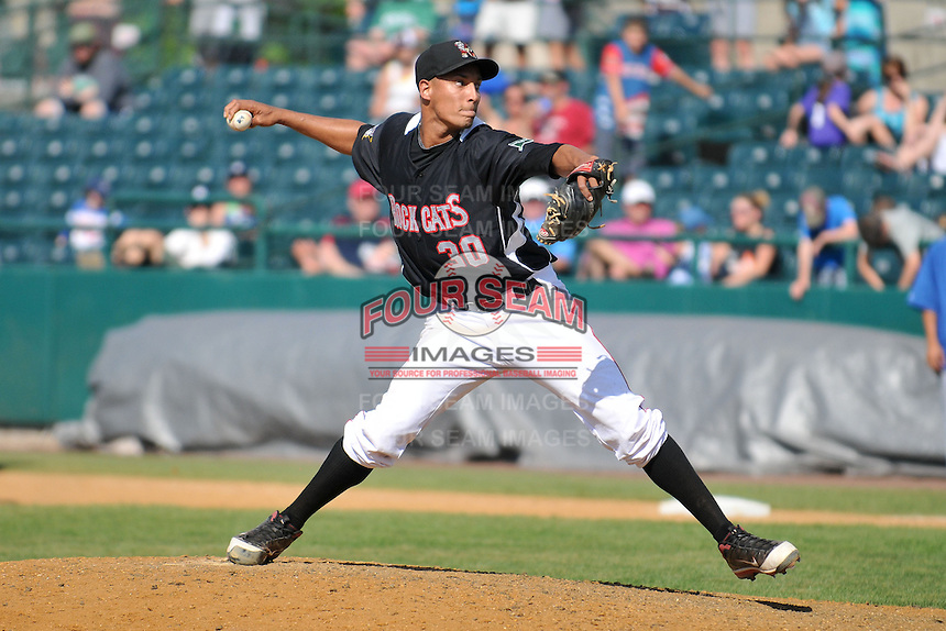 Adrian Salcedo (30) of the New Britain Rock Cats pitches during a game against the Binghamton Mets at New Britain Stadium on June 1, 2014 in New Britain, Connecticut.  New Britain defeated Binghamton 6-1.  (Gregory Vasil/Four Seam Images)