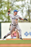 Asheville Tourists second baseman Brendan Rodgers (1) turns a double play during a game against the  Greenville Drive at Fluor Field on April 10, 2016 in Greenville South Carolina. The Drive defeated the Tourists 7-4. (Tony Farlow/Four Seam Images)