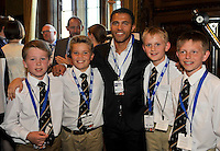 London, England. Jason Robinson, World World Cup Winner, British Lion and dual code legend with Marlow during The 2014 All Party Parliamentary Rugby Union Group Premiership Rugby Community Awards at the House of Commons, Westminster, England on July 3,2014