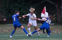 Seattle, WA - Saturday July 16, 2016: Lauren Barnes, Lynn Williams, Rumi Utsugi during a regular season National Women's Soccer League (NWSL) match between the Seattle Reign FC and the Western New York Flash at Memorial Stadium.