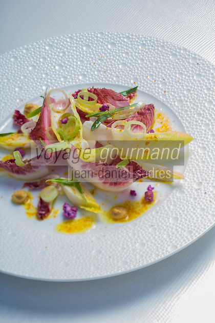 France, Paris (75), Les aliments anti-cancer de Richard Béliveau cuisinés par  Alain Passard, restaurant trois étoiles L'Arpège  -  Endives à l'ail, curcuma, moutarde et estragon  //  France, Paris, Richard Béliveau , anti-cancer foods cooked  by Alain Passard, three-star restaurant L'Arpège  - Endive with garlic, turmeric, mustard and tarragon