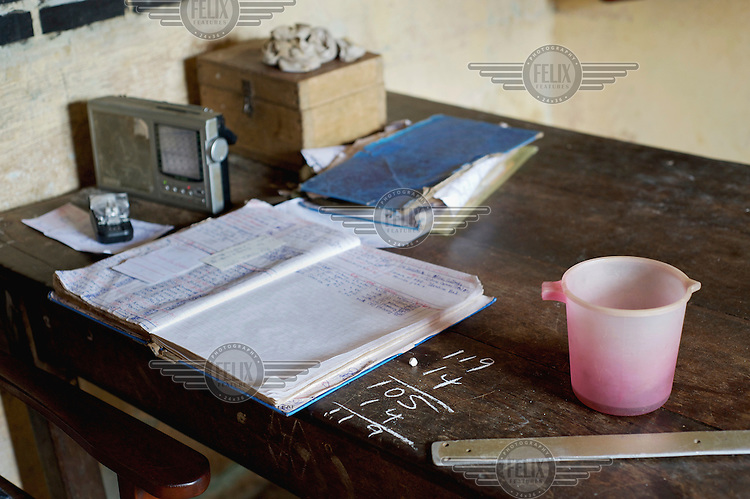The number of inmates arrivals and released is marked in chalk on the desk of an office at Bo Prison.