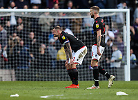 Bolton Wanderers' David Wheater and Mark Beevers at the end of the match<br /> <br /> Photographer Andrew Kearns/CameraSport<br /> <br /> The EFL Sky Bet Championship - Derby County v Bolton Wanderers - Saturday 13th April 2019 - Pride Park - Derby<br /> <br /> World Copyright &copy; 2019 CameraSport. All rights reserved. 43 Linden Ave. Countesthorpe. Leicester. England. LE8 5PG - Tel: +44 (0) 116 277 4147 - admin@camerasport.com - www.camerasport.com