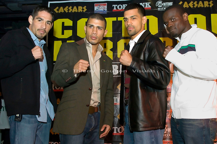 (l-r) Antonio Margarito,  Miguel Cotto, Carlos Quintana and Joshua Clottey pose before the press conference at the Copacabana in NYC on 11.28.06 to promote their upcoming fights.&amp;#xD;Cotto will fight  Quintana for the vacant WBA welterweight belt and Margarito will defend his  WBO welterweight title against Joshua Clottey.&amp;#xD;The fights ill take place in Atlantic City on 12.02.06.<br />  Photo by Thierry Gourjon.