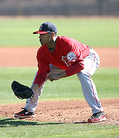 Trevor Reckling #43 of the Los Angeles Angels participates in pitchers fielding practice during spring training workouts at the Angels complex on February 16, 2011  in Tempe, Arizona. .Photo by:  Bill Mitchell/Four Seam Images.