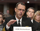 """Admiral John M. Richardson, USN, Chief Of Naval Operations, testifies before the US Senate Committee on Armed Services on """"Recent United States Navy Incidents at Sea"""" on Capitol Hill in Washington, DC on Tuesday, September 19, 2017.  The hearing is investigating the two separate collisions with the USS Fitzgerald and USS John S. McCain that resulted in the loss of 17 US Sailors.<br /> Credit: Ron Sachs / CNP"""