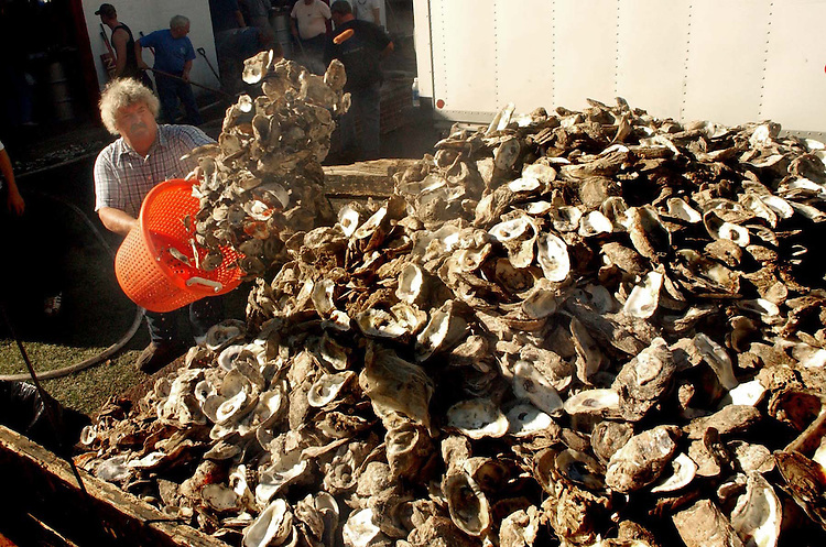 News///Mill Creek Shells///Phillip Dixon adds to the pile of empty oyster shells at the 32nd annual Mill Creek Oyster Festival. PHOTO BY CHUCK BECKLEY