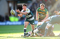 Ben Youngs of Leicester Tigers passes the ball. Aviva Premiership match, between Northampton Saints and Leicester Tigers on April 16, 2016 at Franklin's Gardens in Northampton, England. Photo by: Patrick Khachfe / JMP