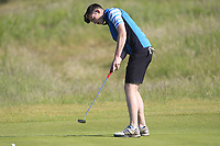 Ryan McKinstry (Cairndhu) on the 1st green during Round 2 of the East of Ireland Amateur Open Championship 2018 at Co. Louth Golf Club, Baltray, Co. Louth on Sunday 3rd June 2018.<br /> Picture:  Thos Caffrey / Golffile<br /> <br /> All photo usage must carry mandatory copyright credit (&copy; Golffile | Thos Caffrey)