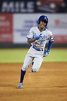 Maikel Garcia (2) of the Burlington Royals legs out a triple during the game against the Pulaski Yankees at Calfee Park on September 1, 2019 in Pulaski, Virginia. The Royals defeated the Yankees 5-4 in 17 innings. (Brian Westerholt/Four Seam Images)