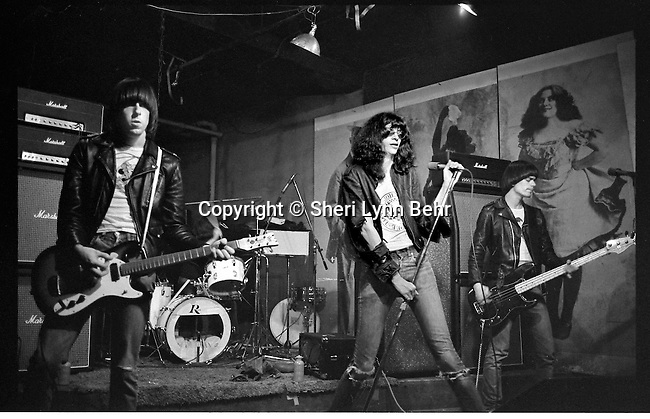 Johnny, Joey and Dee Dee Ramone onstage at CBGB,  February 1977