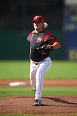 Batavia Muckdogs starting pitcher Ryan McKay (27) during the first game of a doubleheader against the Mahoning Valley Scrappers on August 17, 2016 at Dwyer Stadium in Batavia, New York.  Mahoning Valley defeated Batavia 10-3. (Mike Janes/Four Seam Images)