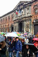 Milano, manifestazione degli studenti della Università Statale contro la riforma dell'istruzione --- Milan, demonstration of the students of the Statale university against the school reform